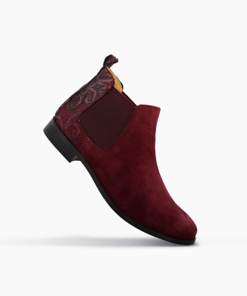 Bottines TUAL Bordeaux velours